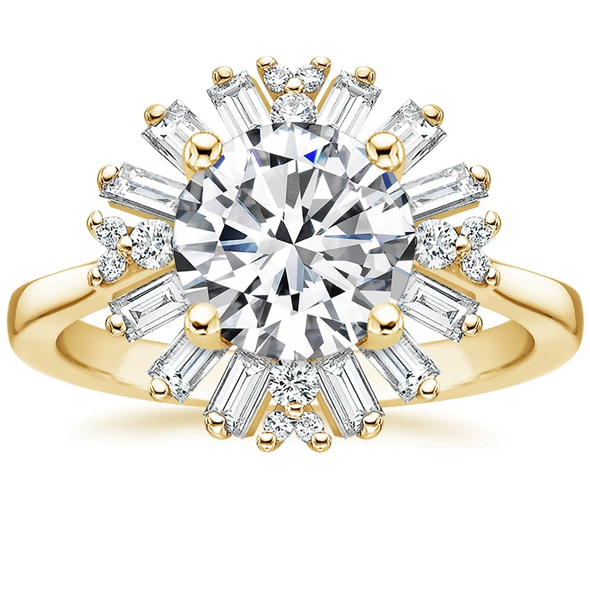 Round Halo Baguette Engagement Ring