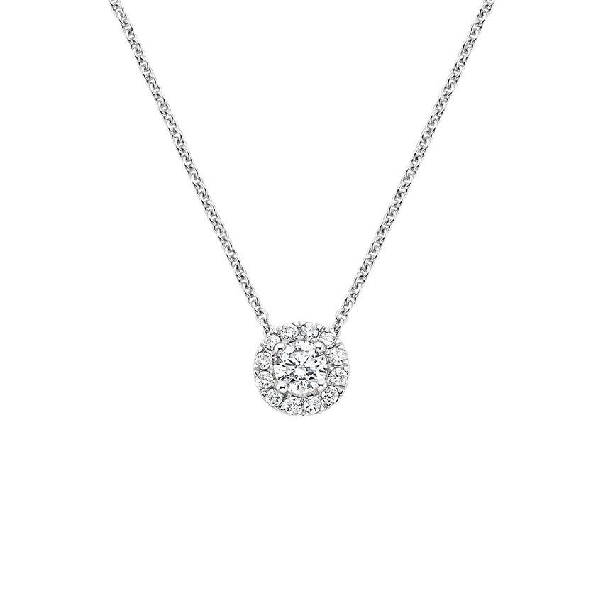 18K White Gold Diamond Halo Pendant, top view