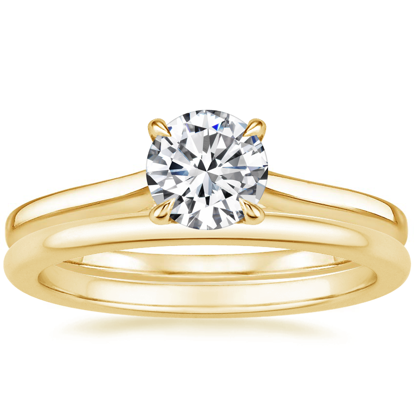 18K Yellow Gold Provence Ring with Petite Comfort Fit Wedding Ring