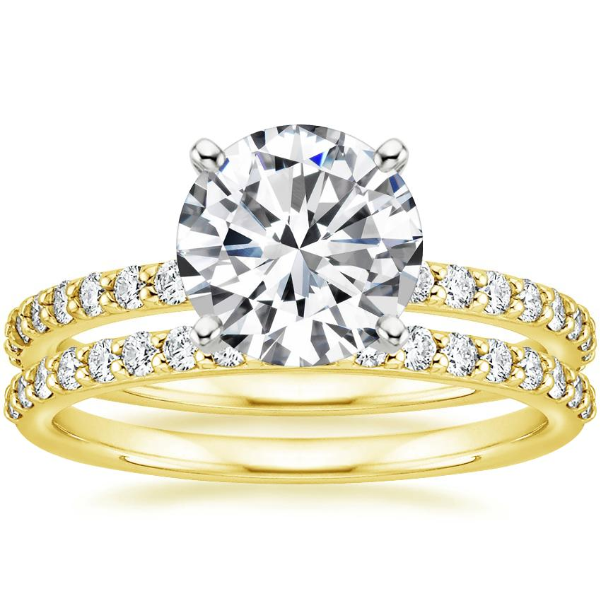 18K Yellow Gold Luxe Petite Shared Prong Diamond Ring with Petite Shared Prong Diamond Ring (1/4 ct. tw.)