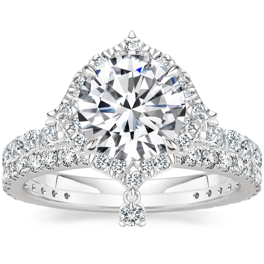 Platinum Summer Rain Diamond Ring (3/4 ct. tw.) with Luxe Bliss Diamond Ring (1/3 ct. tw.)