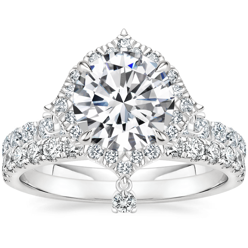 18K White Gold Summer Rain Diamond Ring (3/4 ct. tw.) with Constance Diamond Ring (1/3 ct. tw.)