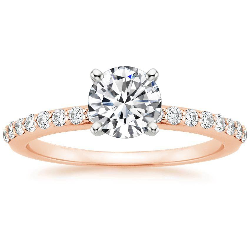 14K Rose Gold Petite Shared Prong Diamond Ring (1/4 ct. tw.), top view