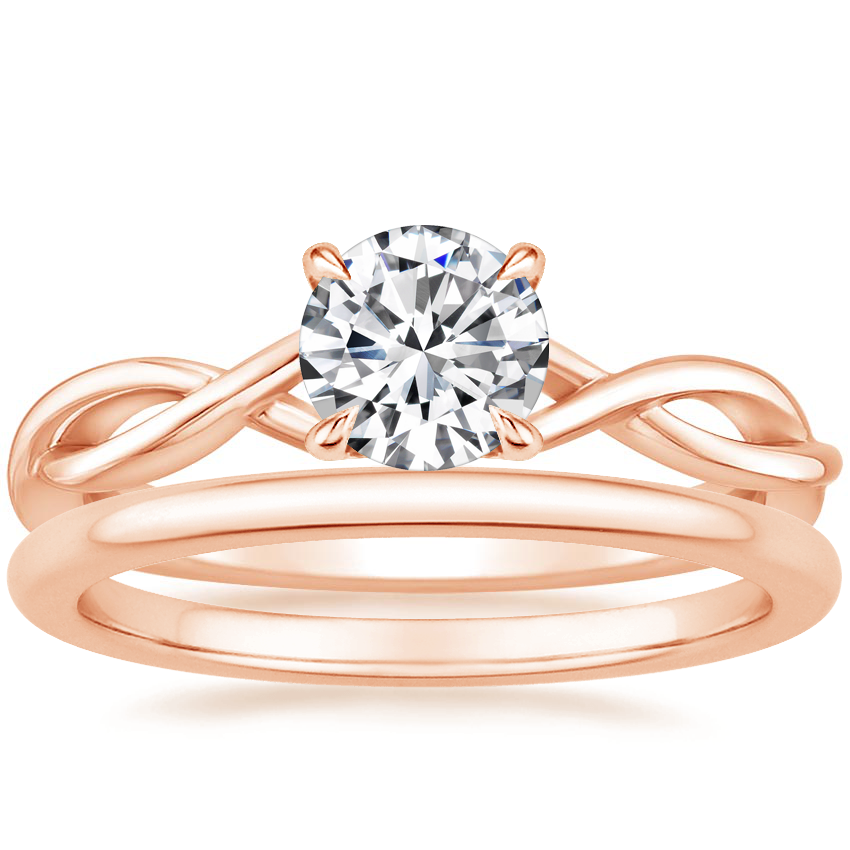 14K Rose Gold Open Twist Diamond Ring with Petite Comfort Fit Wedding Ring