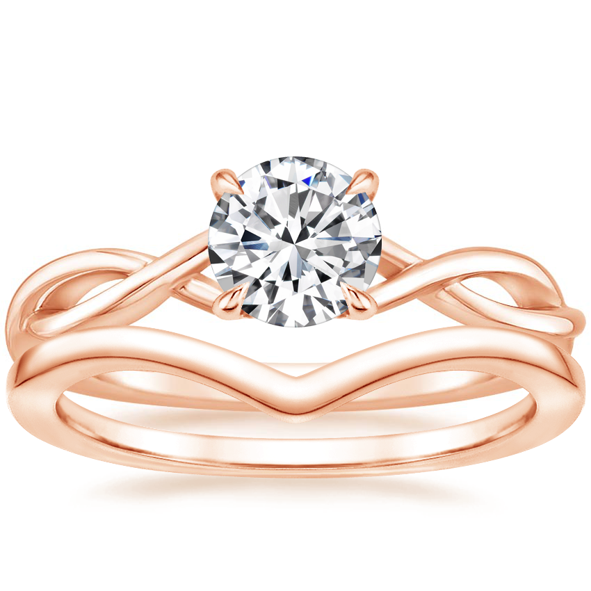 14K Rose Gold Open Twist Diamond Ring with Chevron Ring