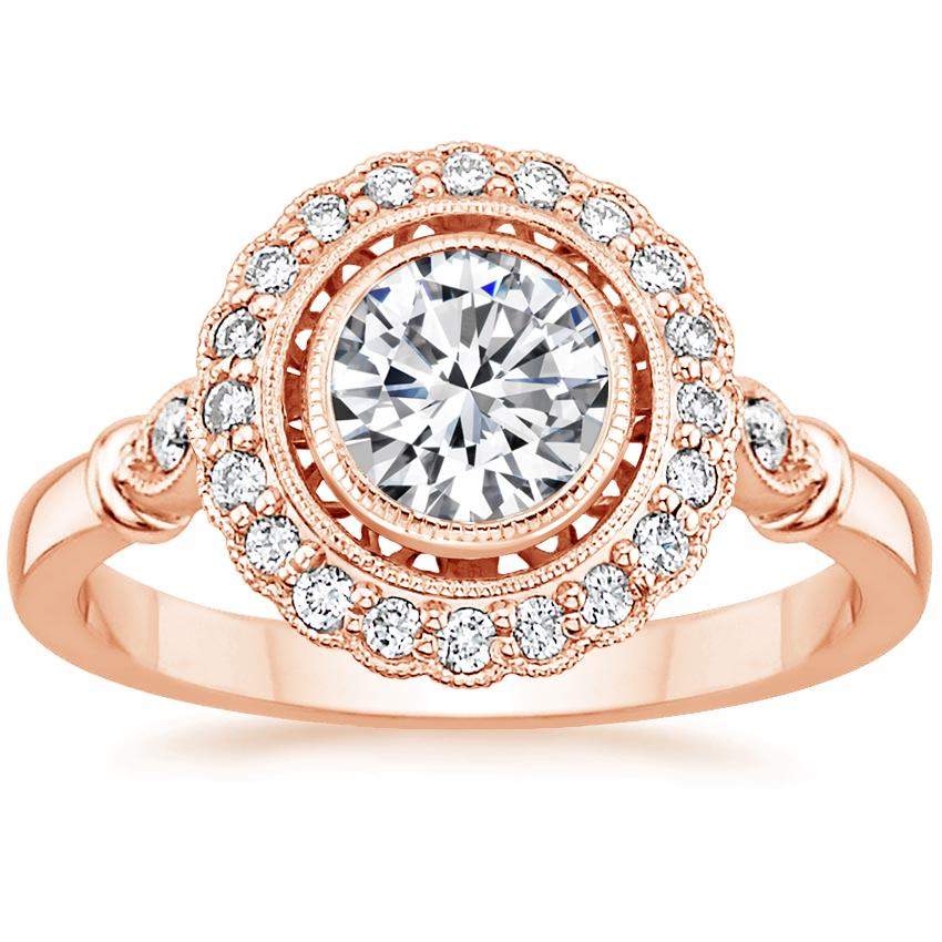 14K Rose Gold Bella Diamond Ring, top view
