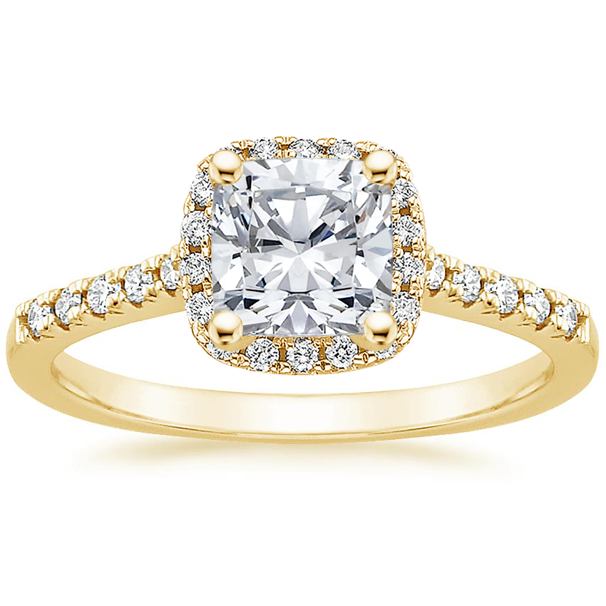 Cushion 18K Yellow Gold Odessa Diamond Ring (1/5 ct. tw.)