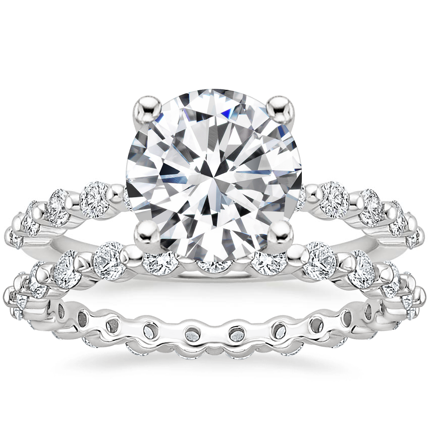 18K White Gold Marseille Diamond Ring (1/4 ct. tw.) with Marseille Eternity Diamond Ring (2/3 ct. tw.)