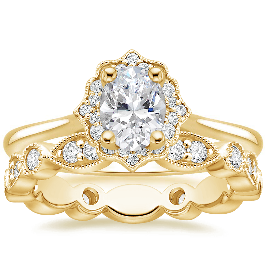18K Yellow Gold Coralie Diamond Ring with Luxe Tiara Eternity Diamond Ring (1/2 ct. tw.)