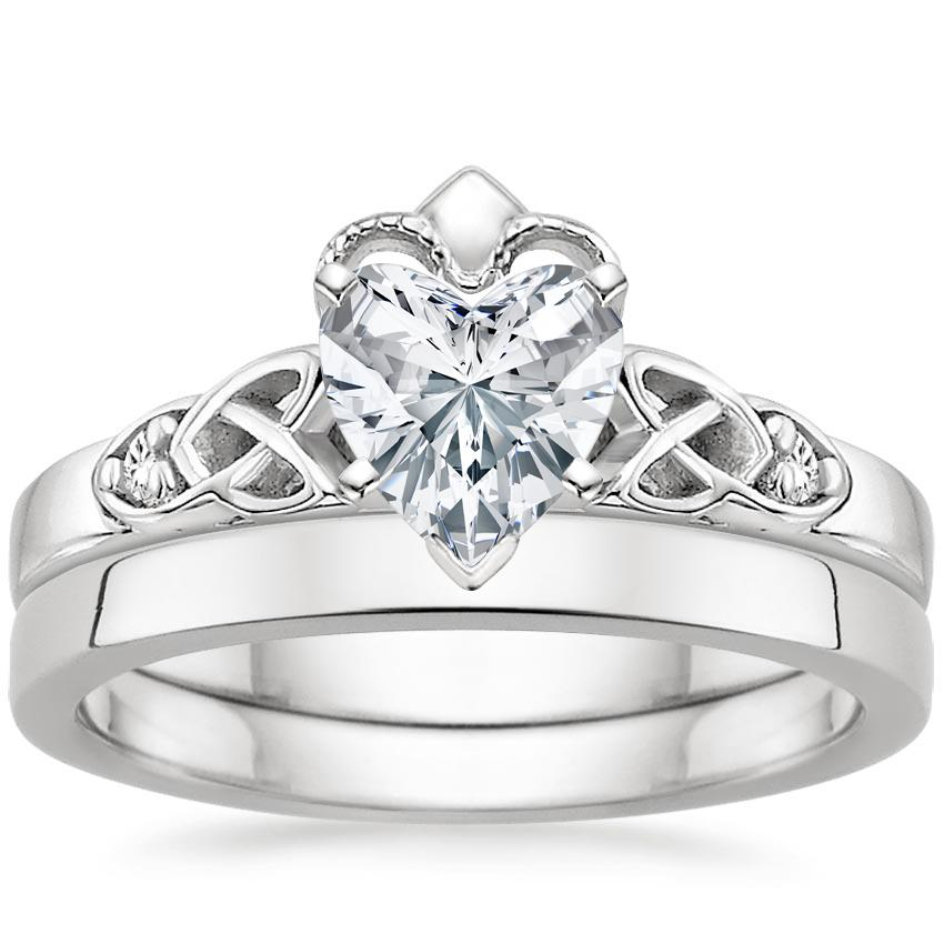 Platinum Celtic Claddagh Diamond Bridal Set