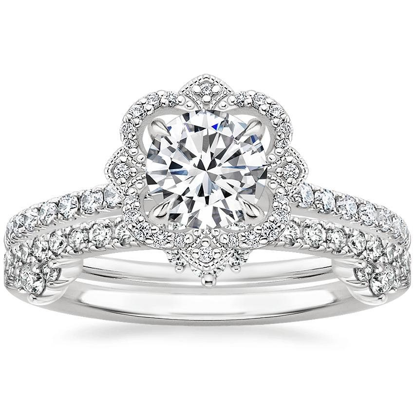 18K White Gold Reina Diamond Ring with Cosette Diamond Ring (1/4 ct. tw.)