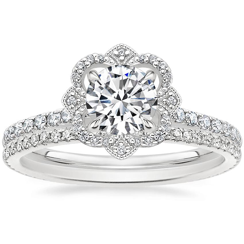 18K White Gold Reina Diamond Ring (1/4 ct. tw.) with Whisper Eternity Diamond Ring (1/4 ct. tw.)