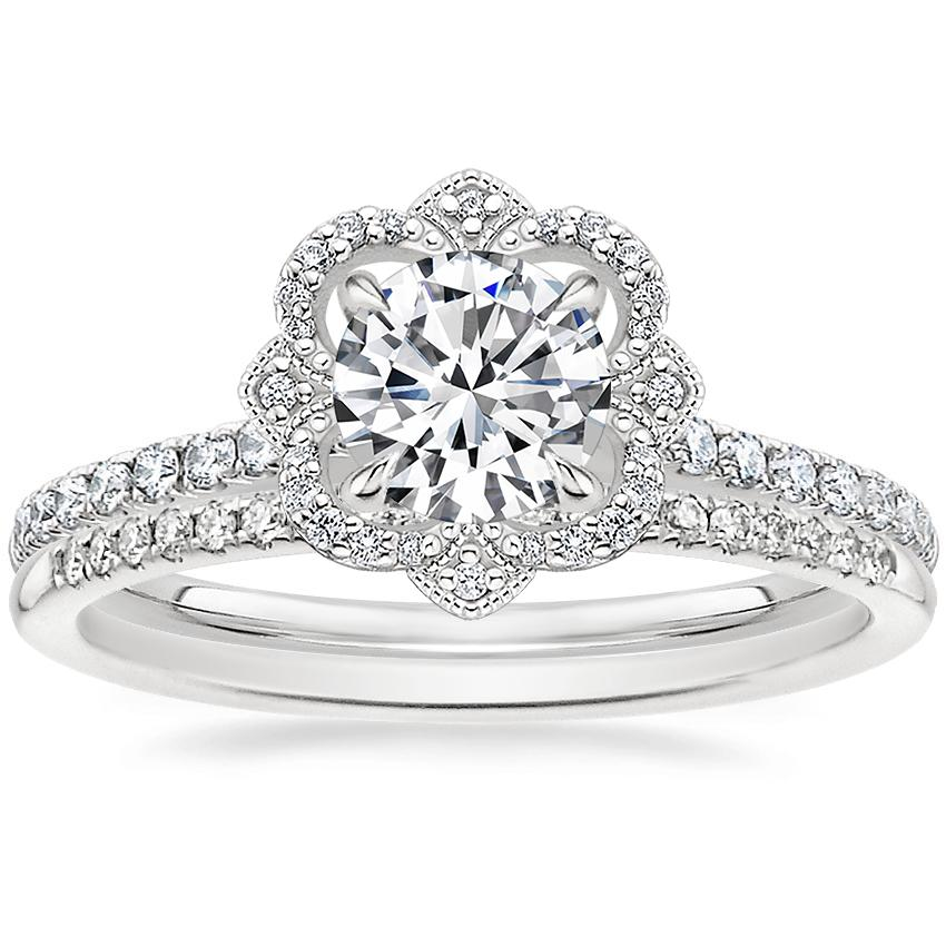 Platinum Reina Diamond Ring (1/4 ct. tw.) with Whisper Diamond Ring (1/10 ct. tw.)