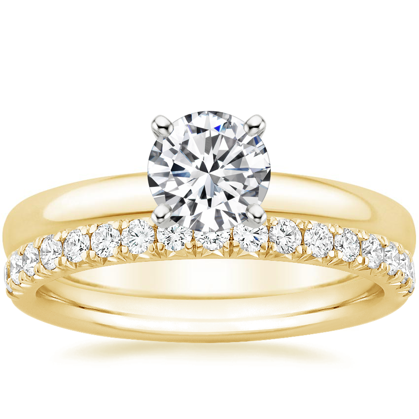 18K Yellow Gold 2.5mm Comfort Fit Ring with Amelie Diamond Ring (1/3 ct. tw.)
