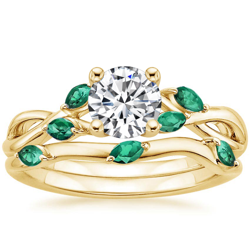 18K Yellow Gold Willow Bridal Set With Lab Emerald Accents