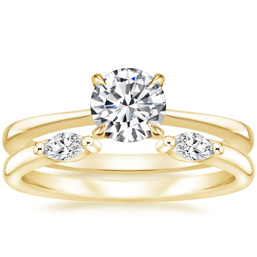 18K Yellow Gold Elle Ring with Nora Diamond Ring
