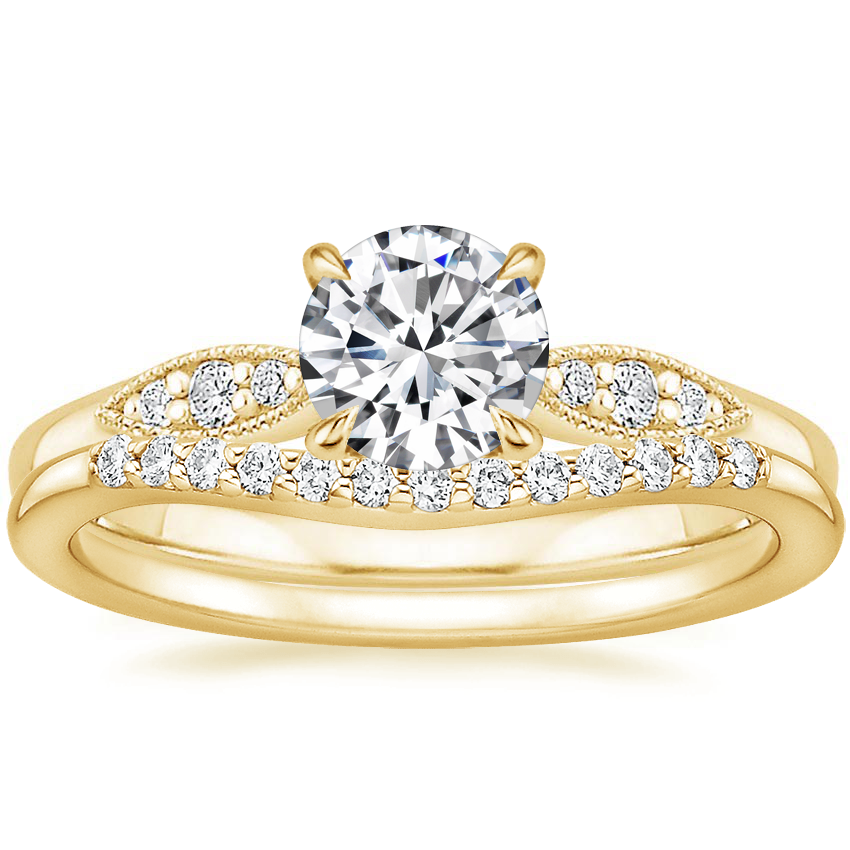 18K Yellow Gold Isadora Diamond Ring with Petite Curved Diamond Ring