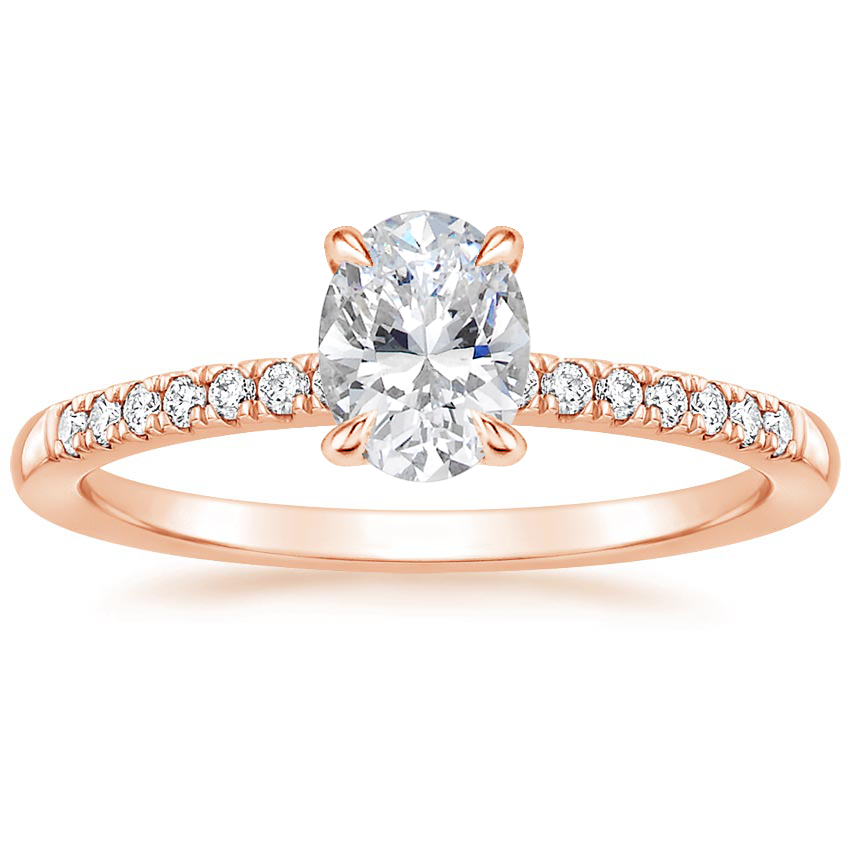 Oval 14K Rose Gold Petite Viviana Diamond Ring (1/6 ct. tw.)