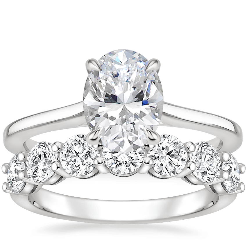 18K White Gold Provence Ring with Round Seven Stone Diamond Ring (1 1/2 ct. tw.)