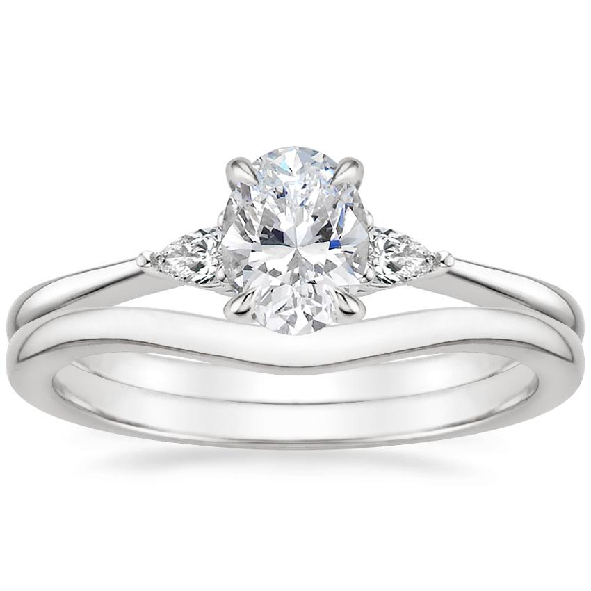 18K White Gold Aria Diamond Ring with Petite Curved Wedding Ring