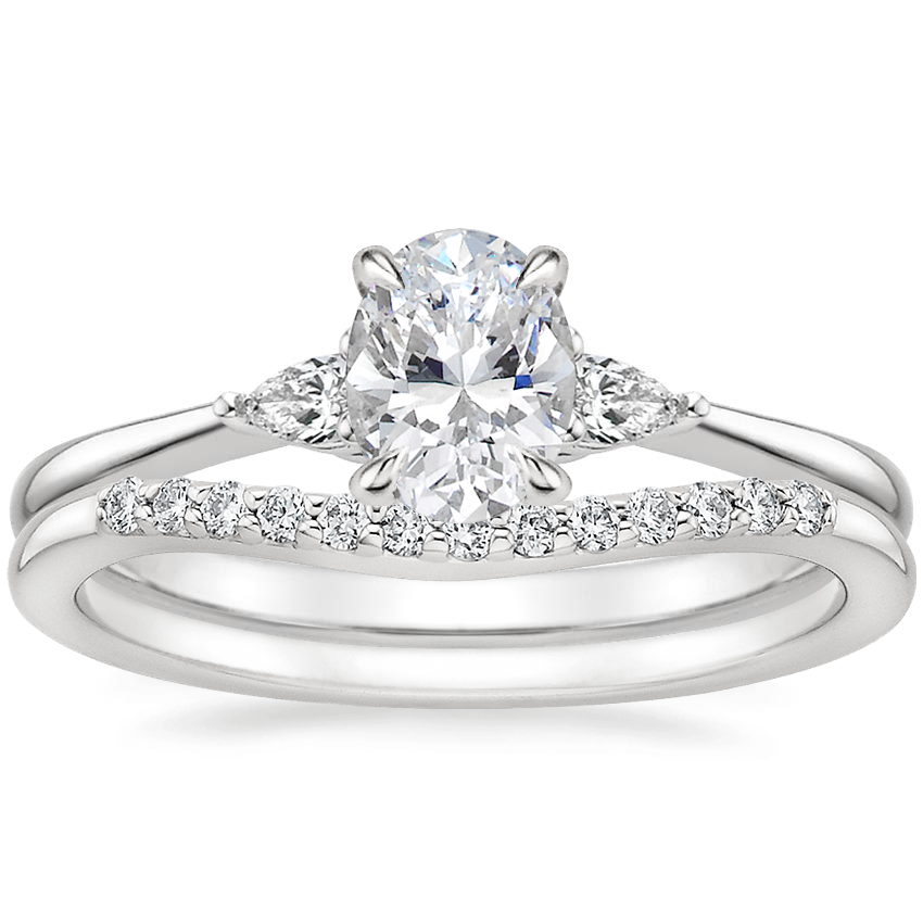 18K White Gold Aria Diamond Ring with Petite Curved Diamond Ring (1/10 ct. tw.)