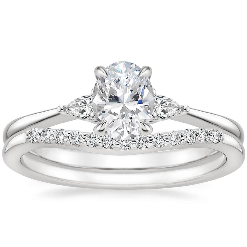 18K White Gold Aria Diamond Ring with Petite Curved Diamond Ring