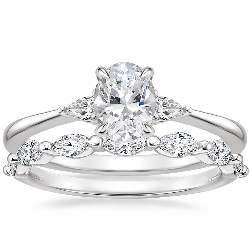 18K White Gold Aria Diamond Ring (1/10 ct. tw.) with Joelle Diamond Ring