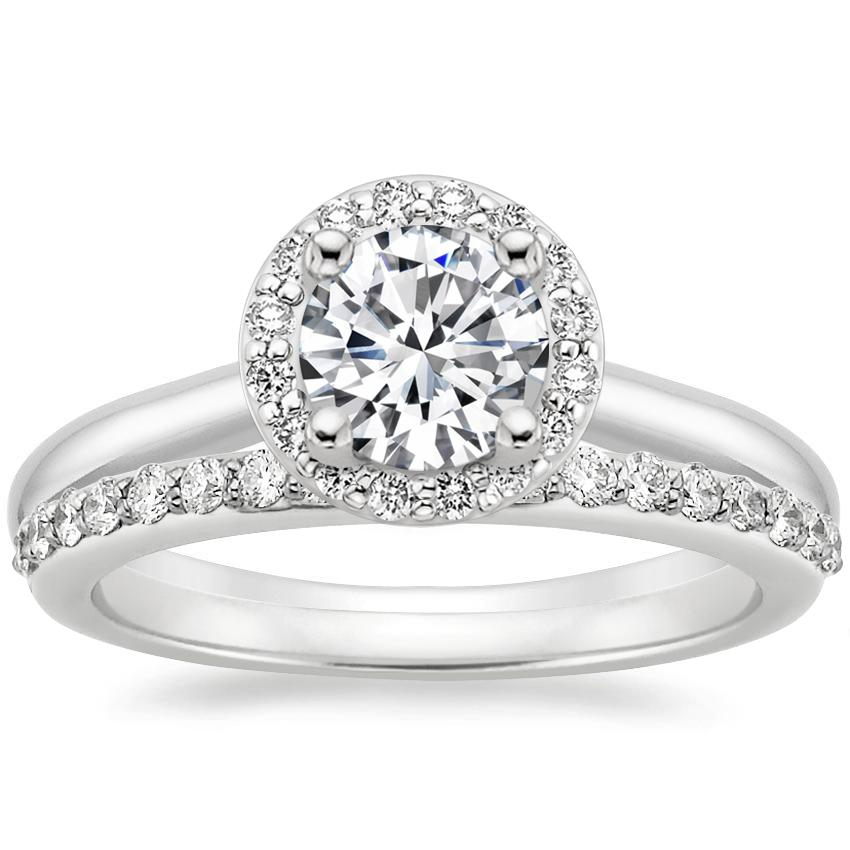 18K White Gold Halo Diamond Ring (1/8 ct. tw.) with Petite Shared Prong Diamond Ring (1/4 ct. tw.), top view