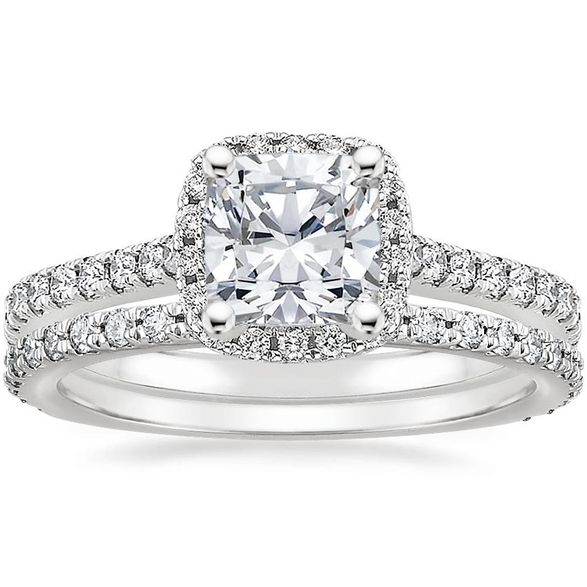 18K White Gold Luxe Odessa Diamond Ring (1/3 ct. tw.) with Luxe Sonora Diamond Ring (1/4 ct. tw.)