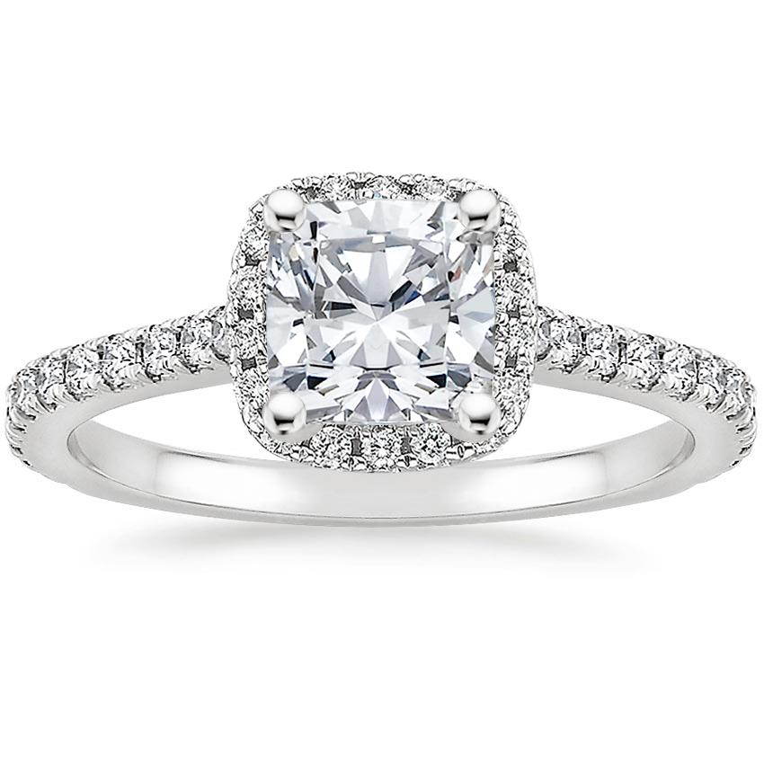 Cushion French Halo Diamond Ring