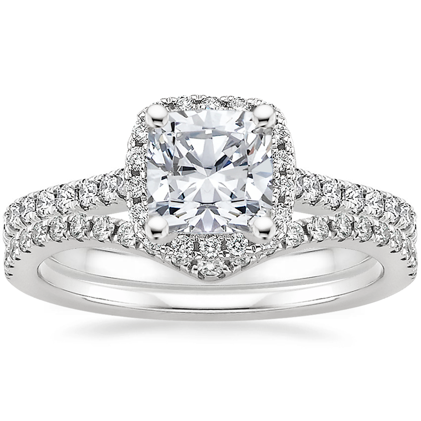 Platinum Luxe Odessa Diamond Ring (1/3 ct. tw.) with Flair Diamond Ring (1/6 ct. tw.)