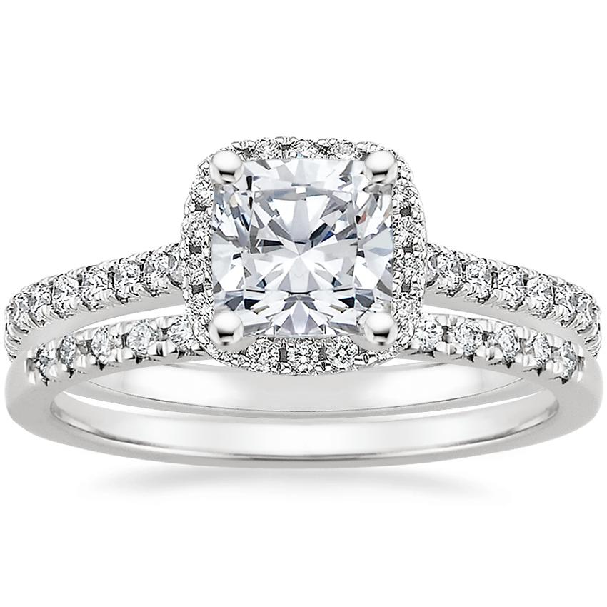18K White Gold Luxe Odessa Diamond Ring (1/3 ct. tw.) with Sonora Diamond Ring (1/8 ct. tw.)