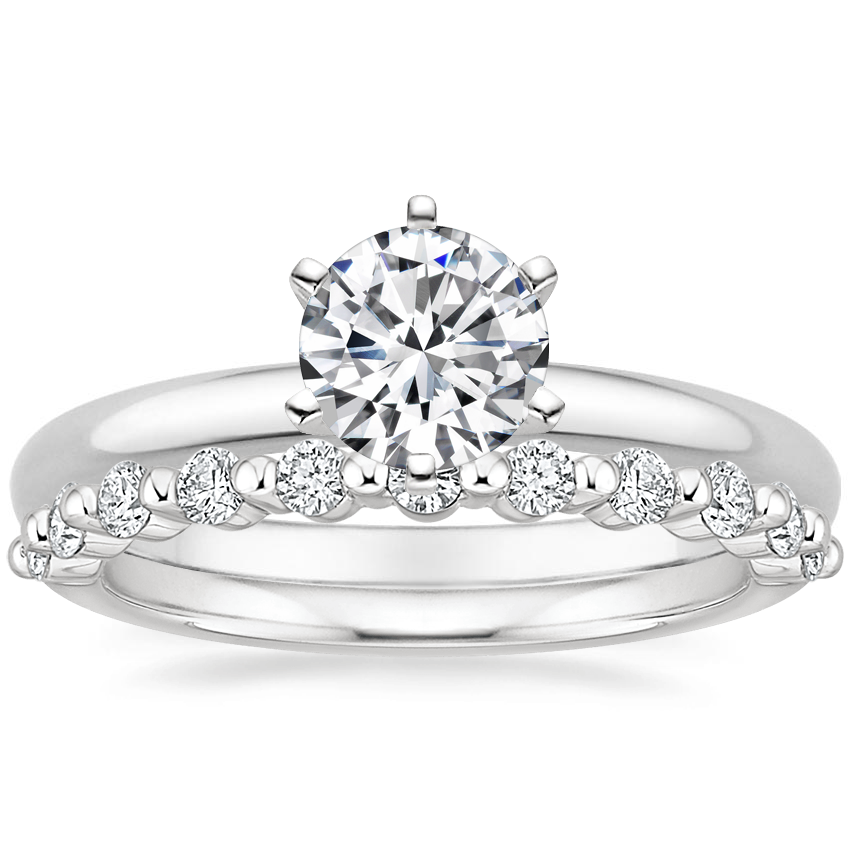 18K White Gold Six-Prong 2mm Comfort Fit Ring with Marseille Diamond Ring (1/3 ct. tw.)