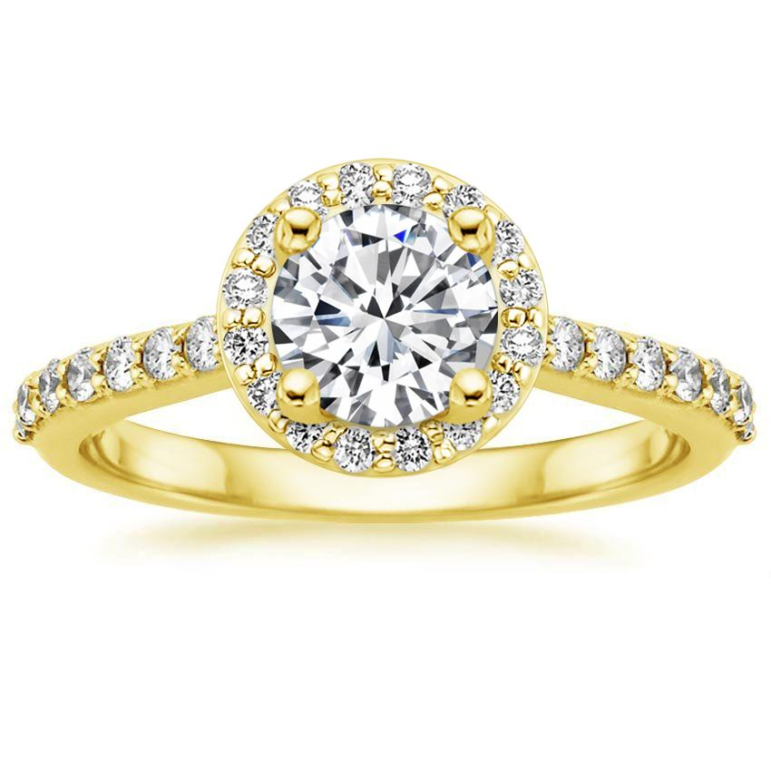 18K Yellow Gold Halo Diamond Ring with Side Stones (1/3 ct. tw.), top view