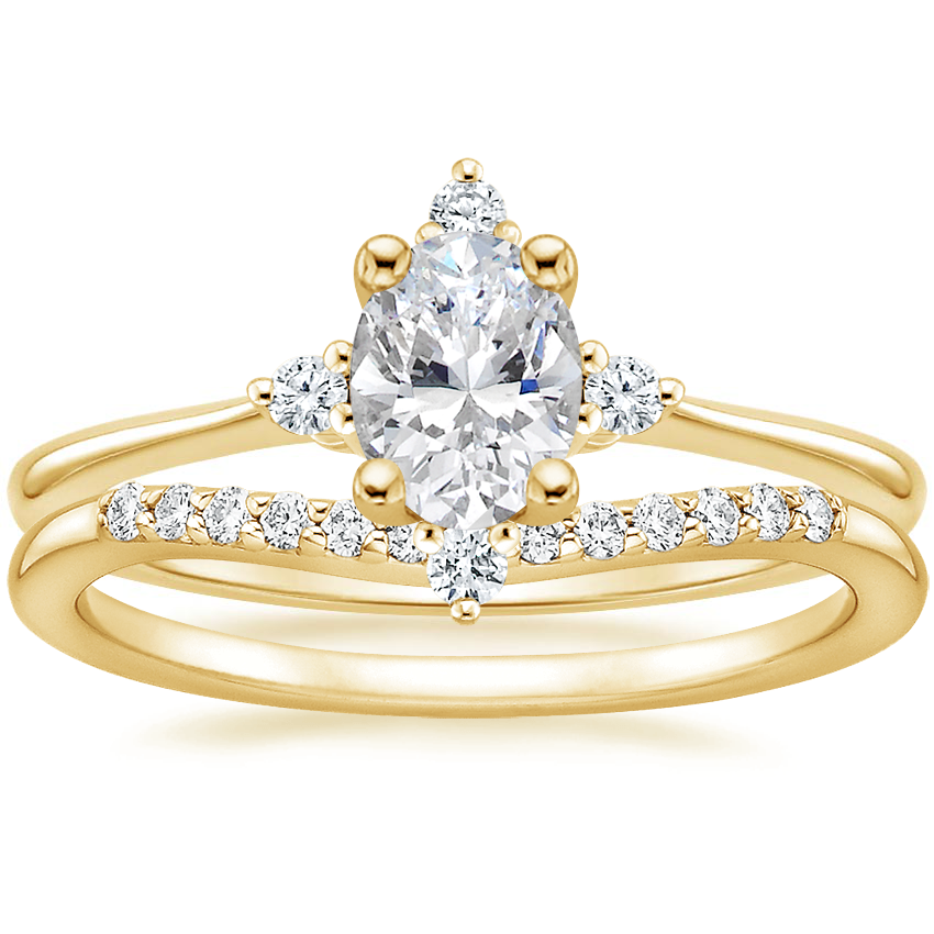 18K Yellow Gold Luminesce Diamond Ring with Petite Curved Diamond Ring (1/10 ct. tw.)