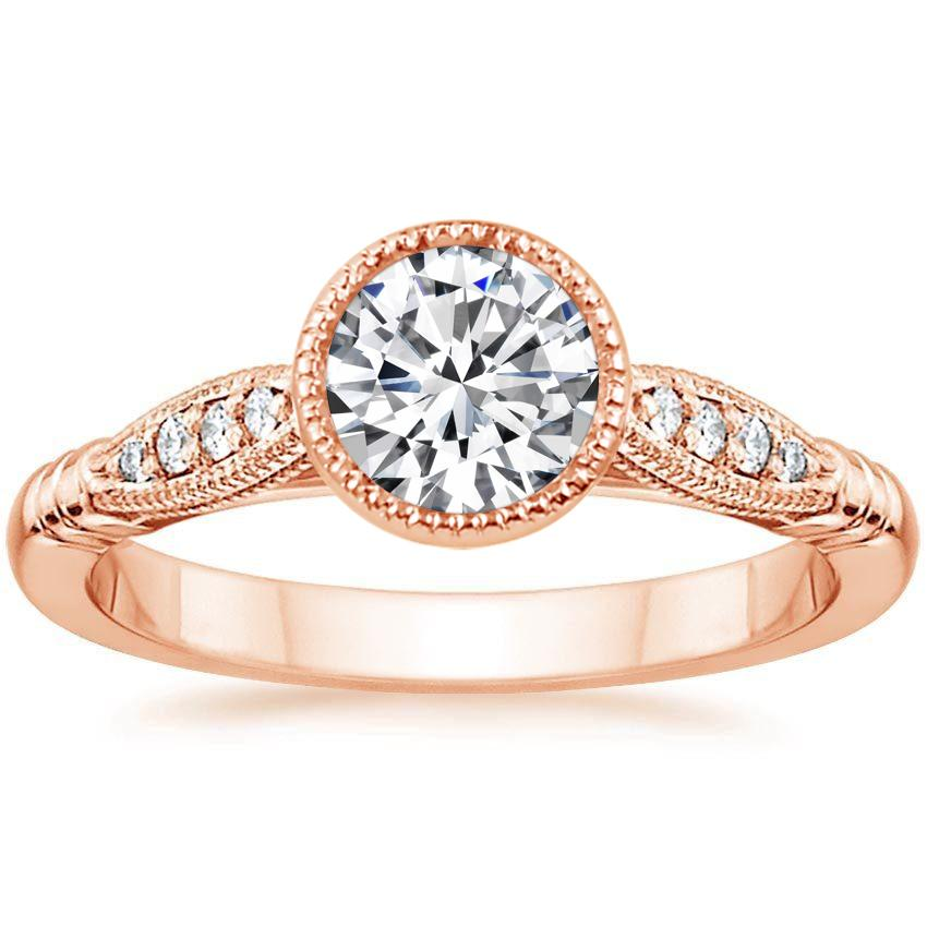 14K Rose Gold Lyra Diamond Ring, top view
