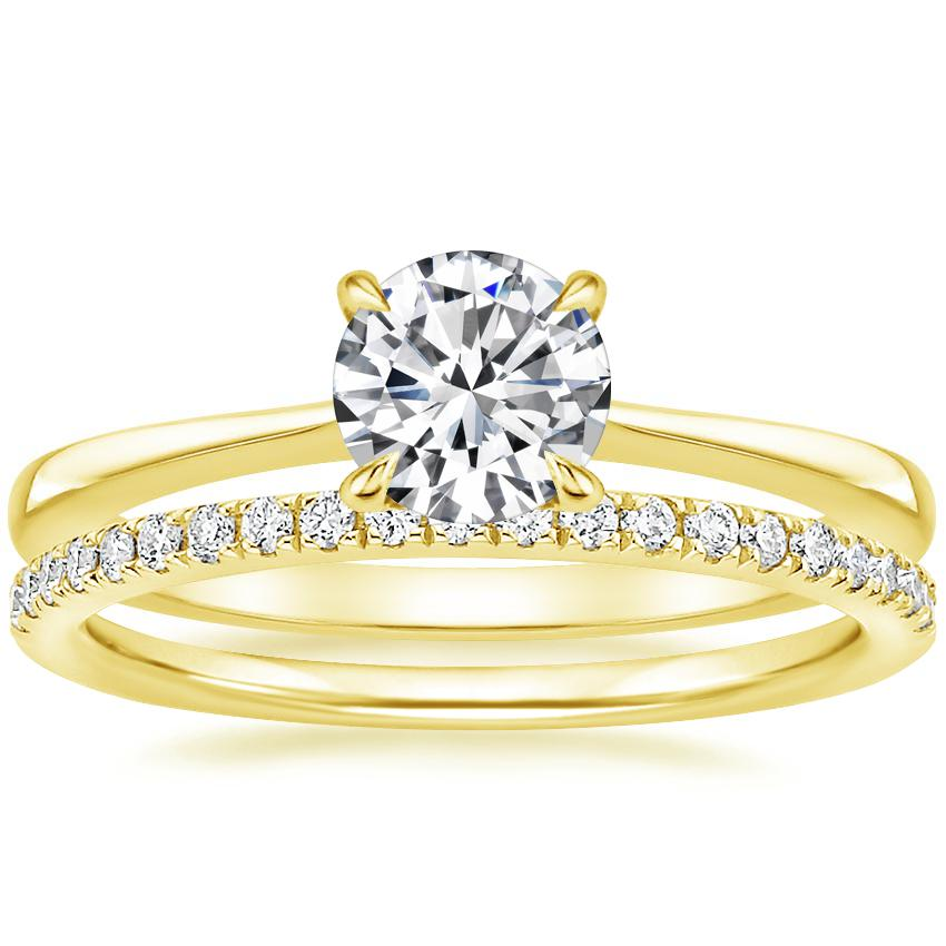 18K Yellow Gold Elle Diamond Ring with Ballad Diamond Ring (1/6 ct. tw.)