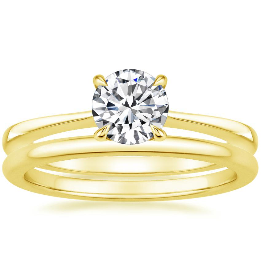 18K Yellow Gold Elle Diamond Ring with Petite Comfort Fit Wedding Ring