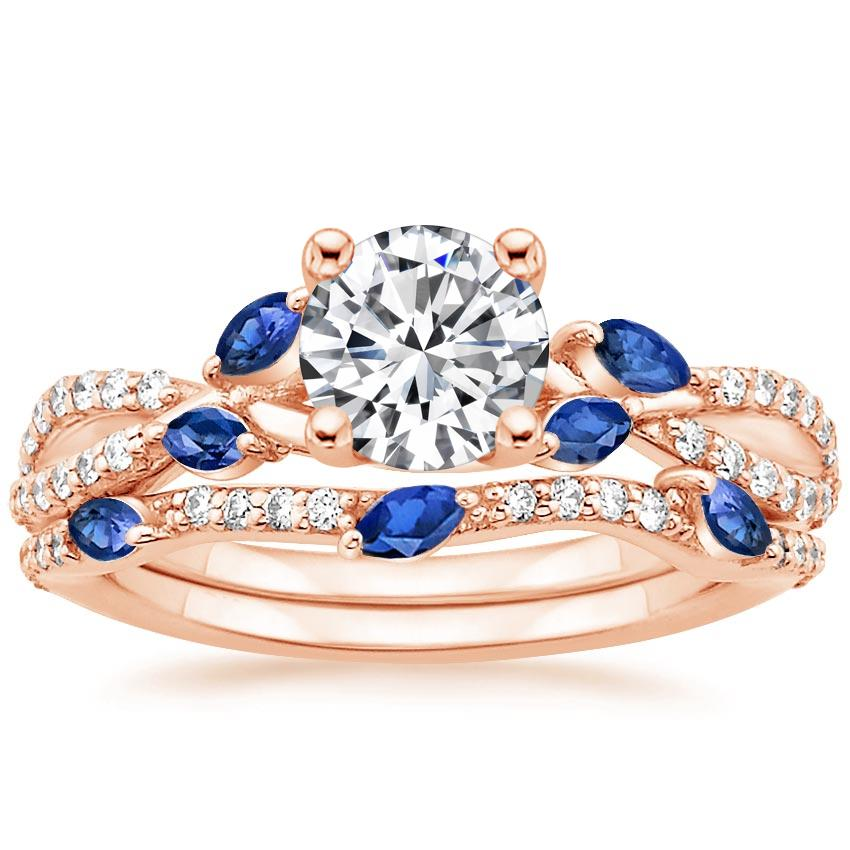 14K Rose Gold Luxe Willow Sapphire and Diamond Bridal Set (1/4 ct. tw.)