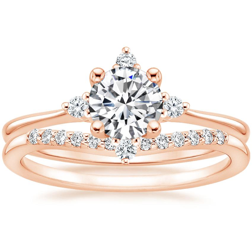 14K Rose Gold Luminesce Diamond Ring with Petite Curved Diamond Ring