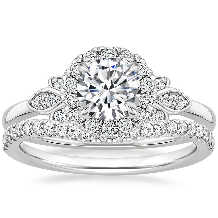 18K White Gold Fiorella Halo Diamond Ring (1/15 ct. tw.) with Curved Ballad Diamond Ring (1/6 ct. tw.)