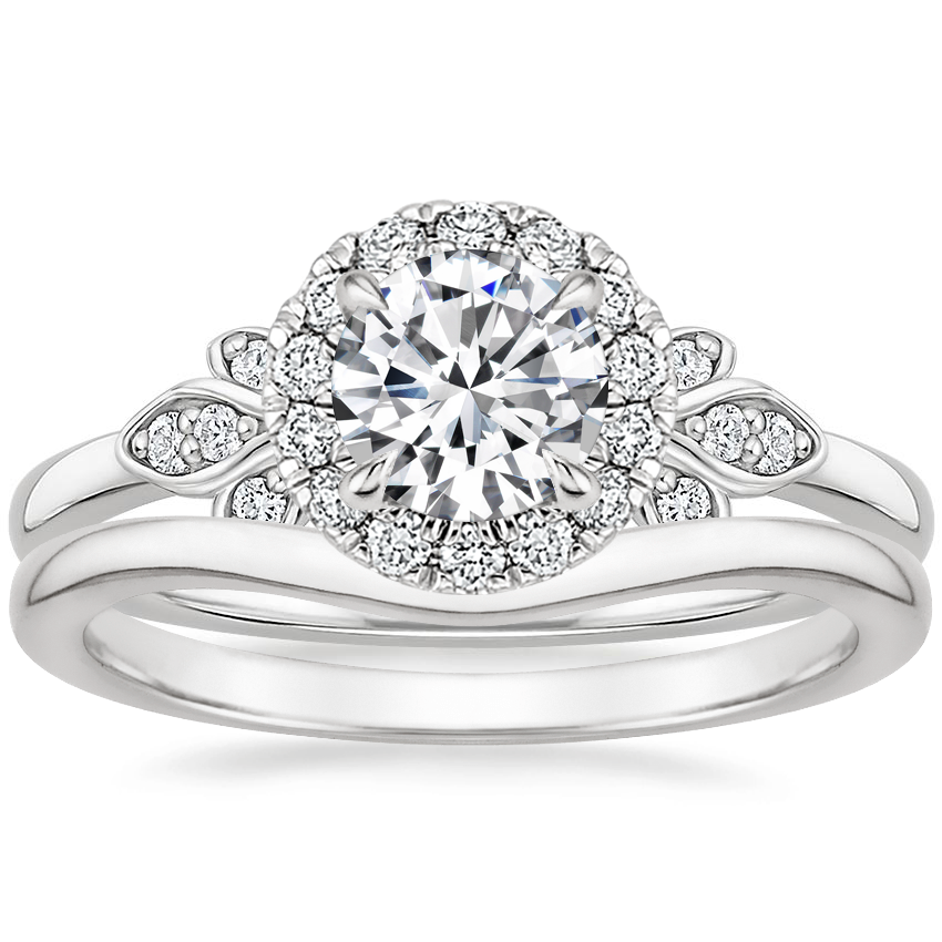 18K White Gold Fiorella Halo Diamond Ring (1/15 ct. tw.) with Petite Curved Wedding Ring