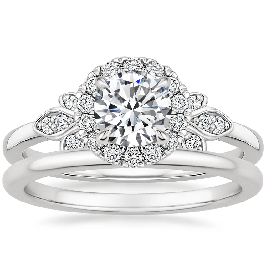 18K White Gold Fiorella Halo Diamond Ring (1/15 ct. tw.) with Petite Comfort Fit Wedding Ring