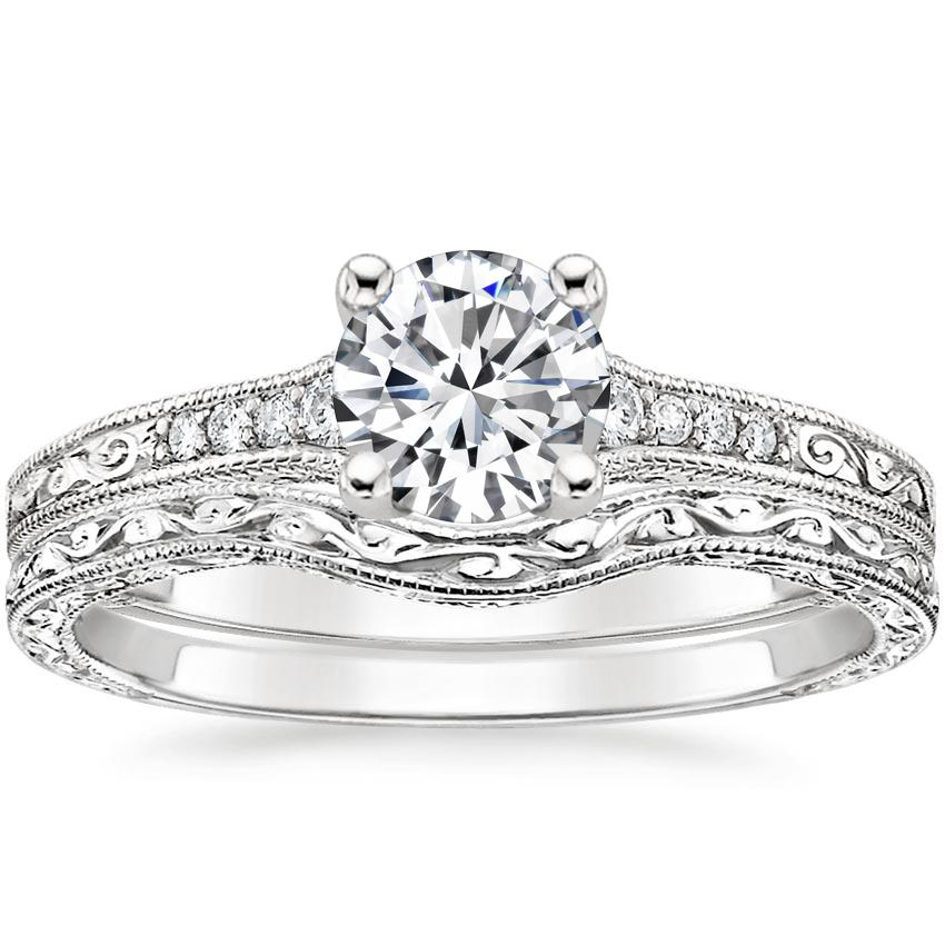 18K White Gold Contoured Luxe Hudson Diamond Bridal Set