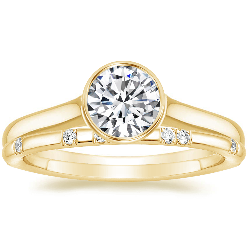 18K Yellow Gold Luna Ring with Astra Diamond Ring