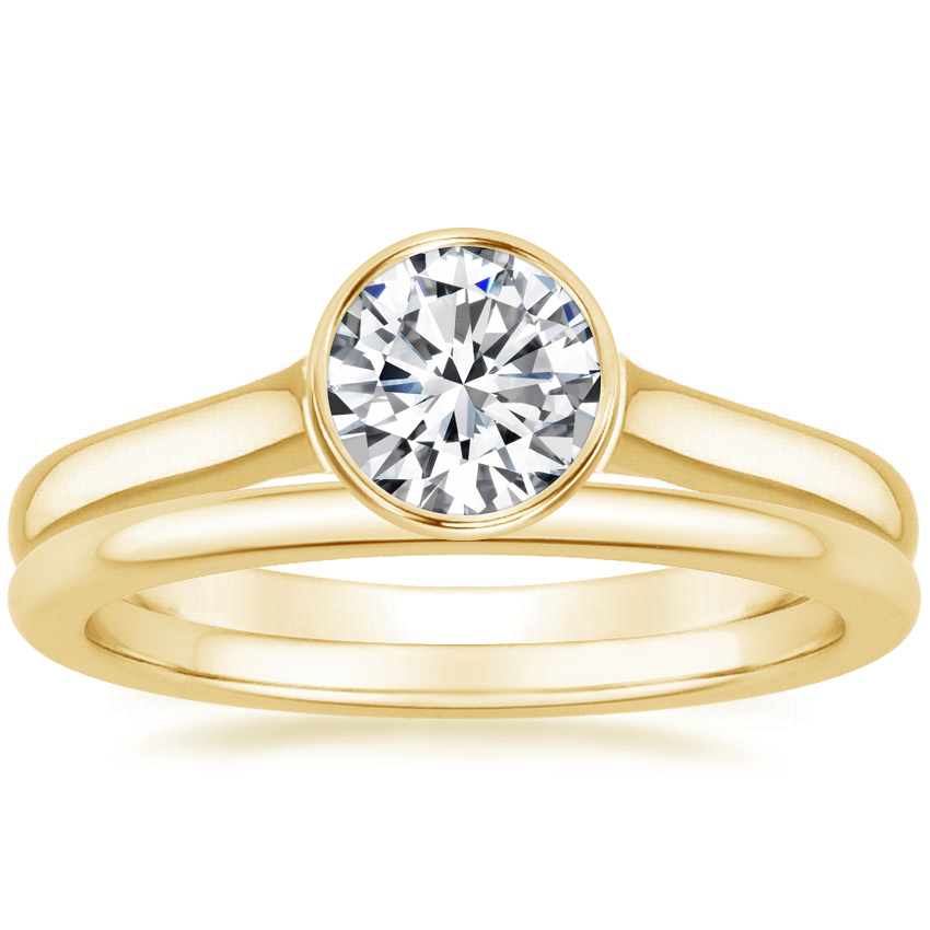 18K Yellow Gold Luna Ring with Petite Comfort Fit Wedding Ring