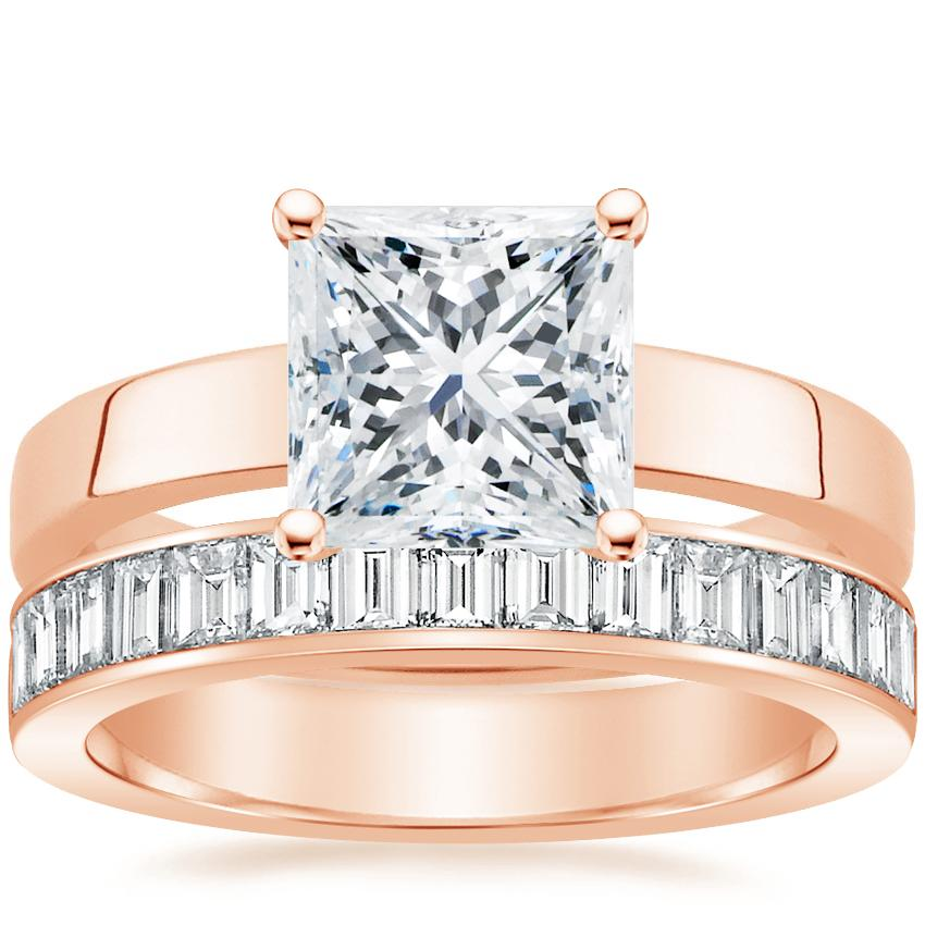 14K Rose Gold Marina Ring with Channel Set Baguette Diamond Ring (1 ct. tw.)