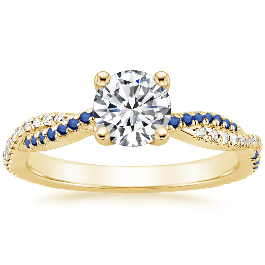 Round 18K Yellow Gold Petite Luxe Twisted Vine Sapphire and Diamond Ring (1/8 ct. tw.)