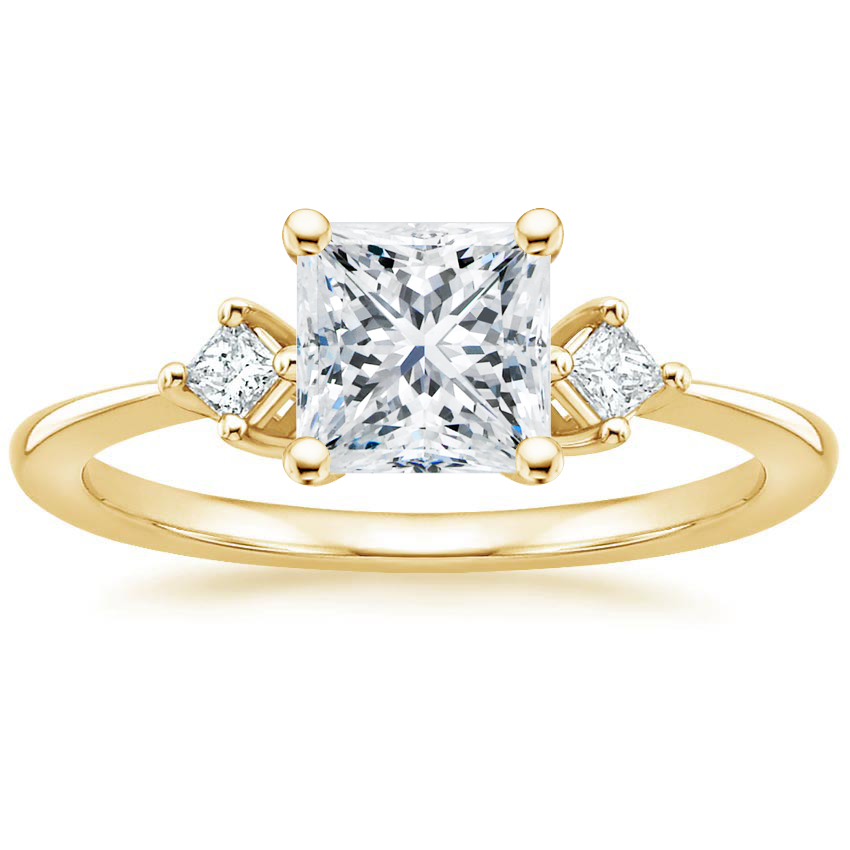 Princess 18K Yellow Gold Tria Diamond Ring