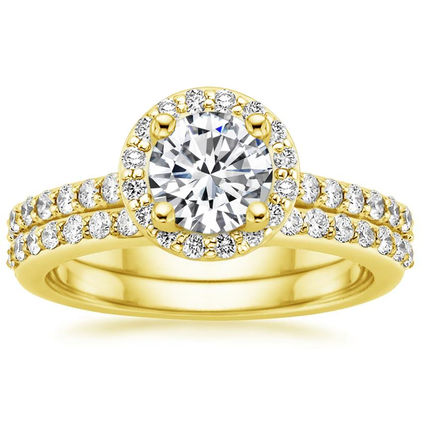 18K Yellow Gold Halo Diamond Ring with Side Stones (1/3 ct. tw.) with Petite Shared Prong Diamond Ring (1/4 ct. tw.)